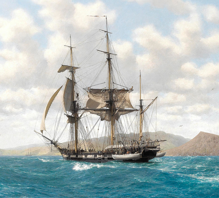 HMS Beagle in the Galapagos by John Chancellor